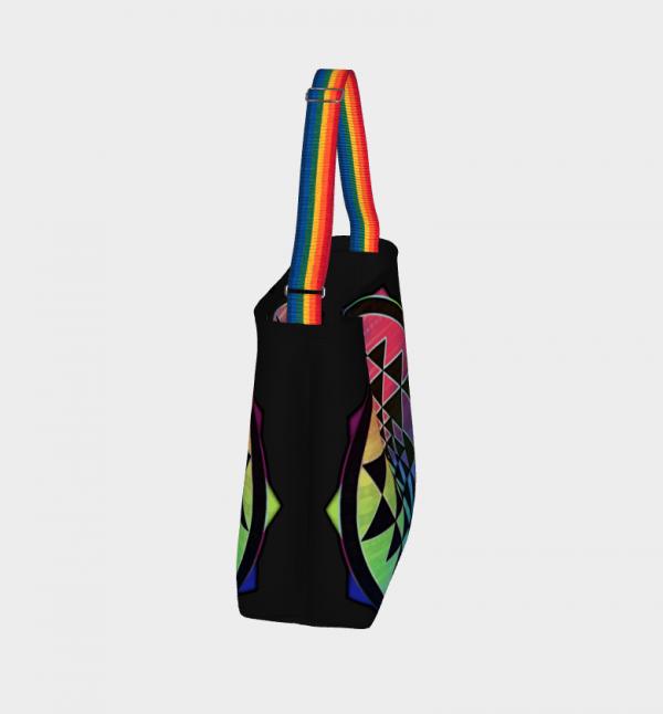 rainbow sri yantra tote bag rainbow and purple handles
